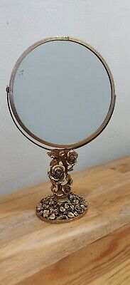 Hollywood Regency Vintage Matson Ormolu Vanity Mirror Face Swivel With Roses