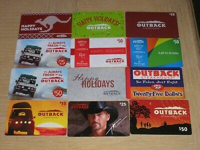 Outback   12 different new collectible gift cards