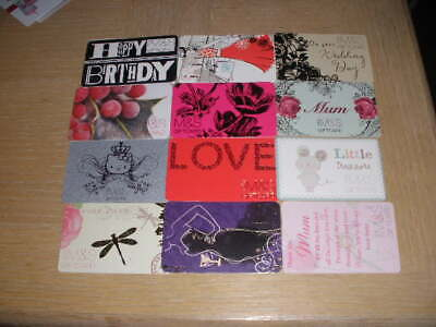 U K  M & S   12 different new and used collectible gift cards