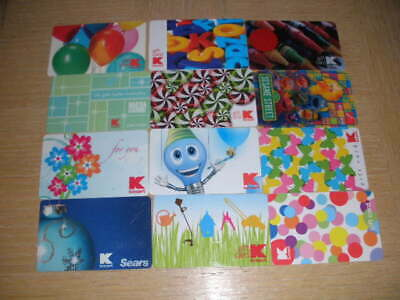 Kmart   12 different new and used collectible gift cards