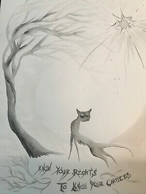 A3 Cat Know Your Rights FREE POST Art Sienna Mayfair Original Painting