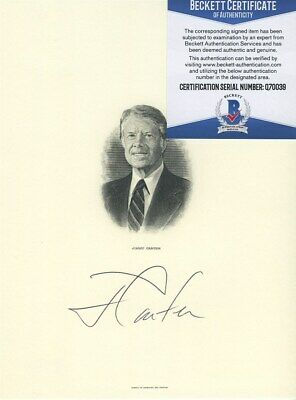 JIMMY CARTER SIGNED AUTOGRAPHED 6x8 PRESIDENTIAL ENGRAVING BECKETT BAS COA