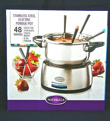 NOSTALGIA FPS200 ~ Electric Stainless Steel Fondue Pot ~ 48 oz. ~ Six Forks NEW
