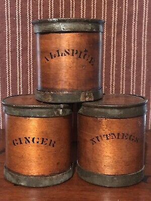 Lot 3 Antique Primitive Farm Kitchen Wood & Tin Spice Boxes Circa 1860 AAFA