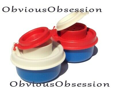 Tupperware Smidgets Salt and Pepper Shakers Set Mini Tiny Bowls Red White Blue