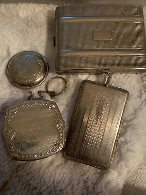Vintage 2 Dance Compacts & 1 Compact & 1 Cigarette Holder Silver Tone Lot Of 4