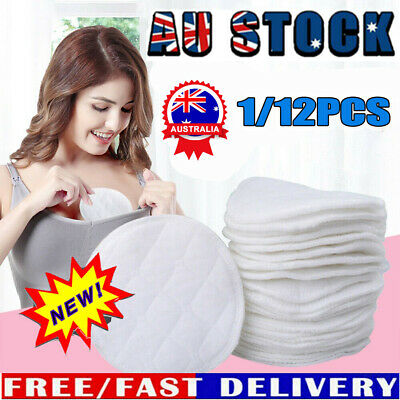 12pcs Bamboo Reusable Breast Pads Nursing Waterproof Organic Plain Washable DTT
