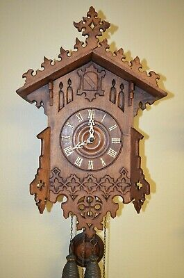 Antique German Black Forest Gothic Style G.h.s. Cuckoo Clock