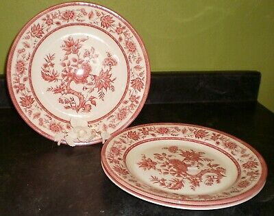"3 Churchill INDIAN TREE PINK Dinner Plates  -Malaysia -10 1/4"" -MINT Condition"