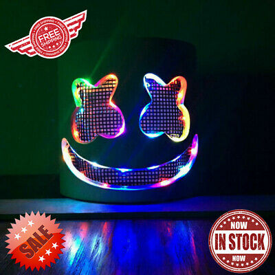 DJ-Marshmello Rainbow LED Full Mask Latex Marshmallow Helmet for Halloween Party