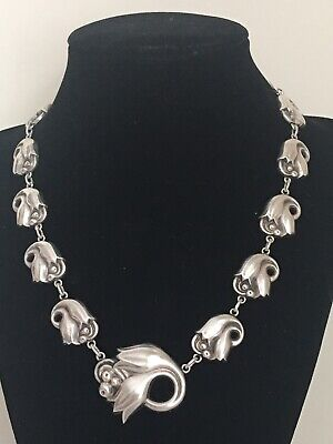 Georg Jensen Vintage Sterling Silver Tulip Link Necklace #100 X USA