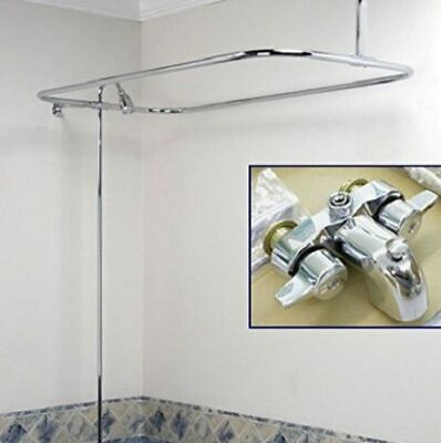 Shower Add Kit Clawfoot Tub D Rod Rectangle Wall Mount Faucet Bathroom Plumbing