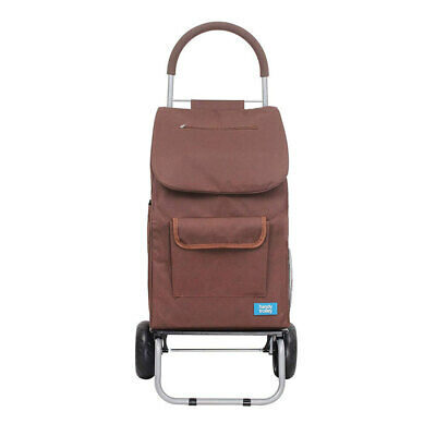 White Magic 3 in 1 40L Shopping Hand Trolley/Dolly/Carry Bag Foldable/Cart Brown