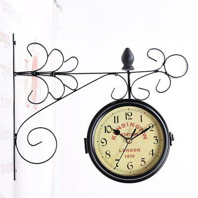 Outdoor With Bracket Wall-Mounted Clock Bell Clock Hanging Double-sided Vintage