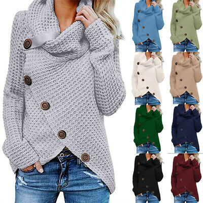 Women Winter Cowl Neck Knitted Sweater Jumper Ladies Button Pullover Tops Blouse