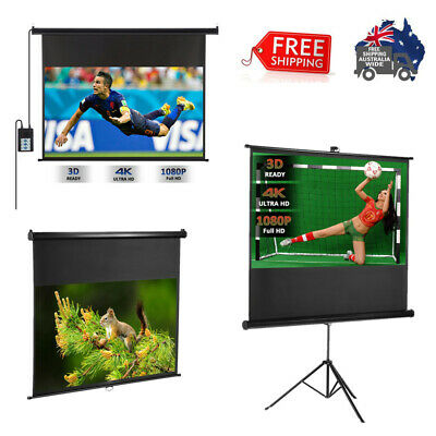 100'' Electric Motorized HD Projector Screen 16:9 Wall Ceiling W/ Remote Control
