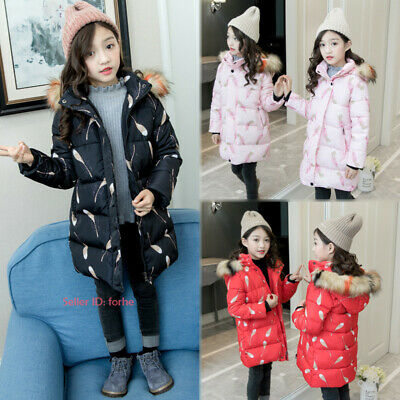 Kids Girls Warm Cotton Down Coat Quilted Jacket Hooded Fur Collar Long Outwear