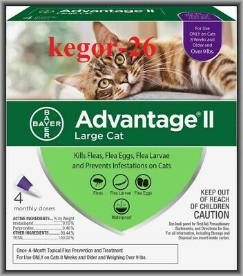 Bayer Advantage II Flea Treatment for Large Cats Over 9 lbs, 4 Monthly Doses !!!