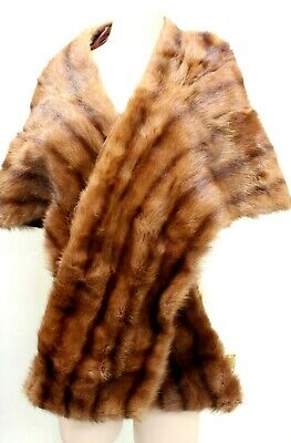 Vintage Fur Wrap 1950s Mink Dyed Marmot Retro Genuine Lined Womens Ladies 50s