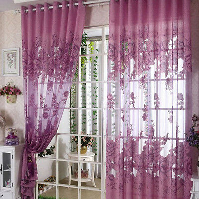 Luxury Eyelet Ring Top Peony Pattern Living Room Tulle Sheer Voile Curtains√UK