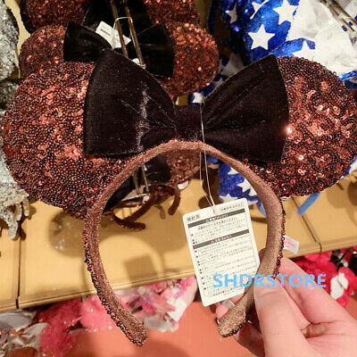 Tokyo Disneyland Disney 2019 Velvet minnie mouse ear Headband sequined authentic