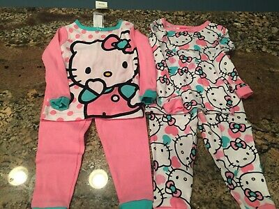 Set of 2 Pair Girls 2T PJs Hello Kitty  Pink  Adorable  (4 pieces) Retail $34