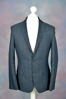 "VGC LIMEHAUS Navy blue tartan check tweed effect suit blazer jacket 38"" REG 38R"