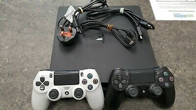 Sony Playstation 4 Slim 500GB Black - Power Supply, Hdmi Cable & 2x Controllers