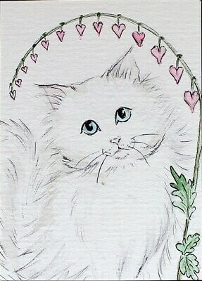 ACEO Original painting White cat with a bleeding heart Watercolor Art Miniature