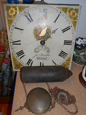 Antique Grandfather Clock Face & Weights For Restoration