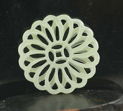 Old Chinese natural jade hand-carved flower pendant