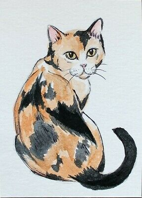 ACEO Original painting Piebald cat Black tail Watercolor Art Miniature