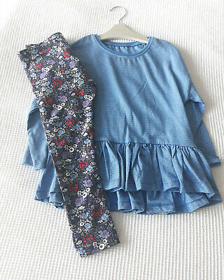 Next Girls Blue Grindle Tunic Top & Navy Floral Leggings Age 4 Years BNWT