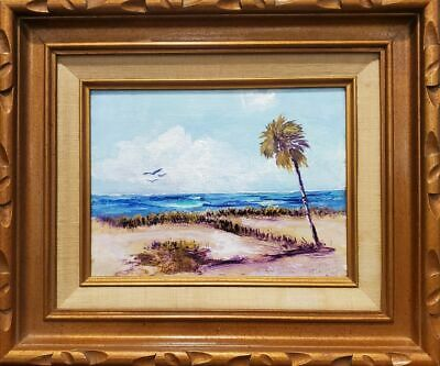 Original Florida Highwaymen Style Painting Tropical Beach by Rochelle FRAMED