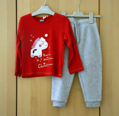 NEXT Girls Cute Christmas Slogan Top & Fleece Joggers Age 2-3 Years BNWT