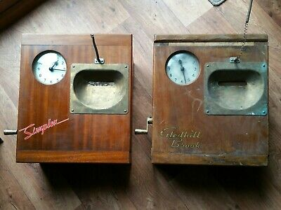 Simplex / Gledhill Brook  x2 Time Recorder Punch Clock Antique