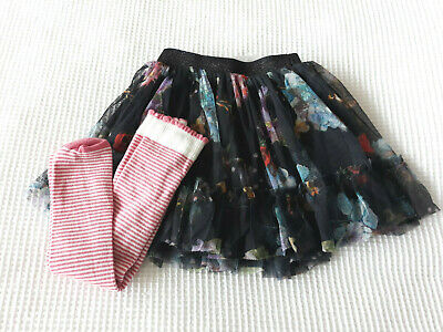 Next Baby Girls Navy Layered Mesh Skirt & Stripe Tights Age 3-6 Months BNWT