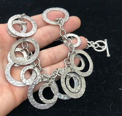 VTG Sterling Silver Necklace Steam Punk Circle Mid Century Modernist Toggle 54g