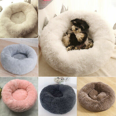 Pet Dog Cat Calming Bed Warm Long Plush Round Nest Comfy Sleeping Kennel Cave UK