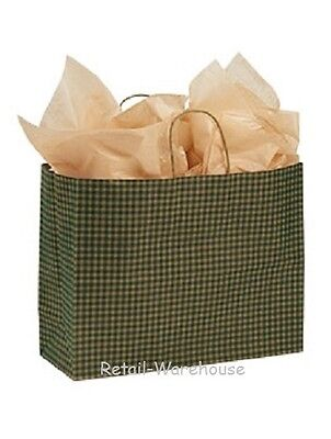 "Paper Shopping Bags 100 Green Gingham Gift Retail Merchandise 16"" x 6 x 12 Vogue"