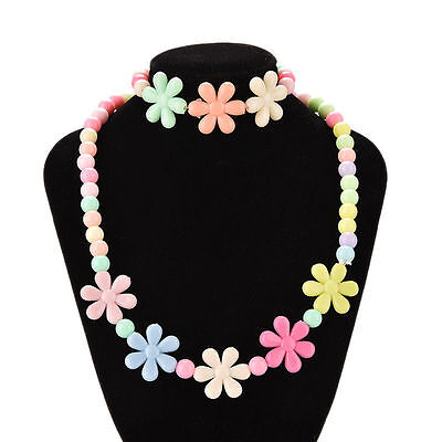 Girls Baby Toddlers Necklace&Bracelet Flower Kids Gift Party Jewelry Baby SK