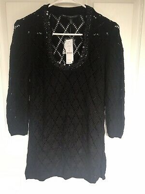 NWT White House Black Market Black Embellished 3/4 Sleeve Tunic Sweater Size S