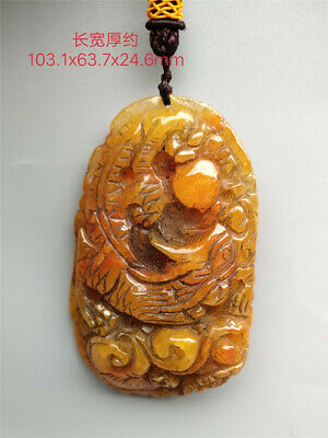 "4.06"" Chinese Exquisite natural yellow jadite jade Hand-carved Dragon Pendant"