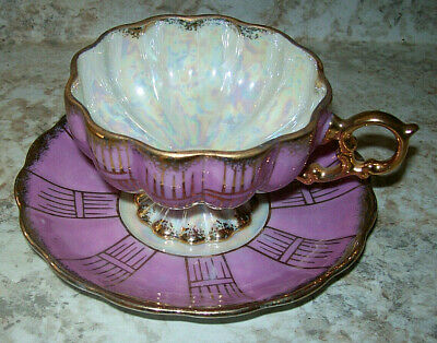 Vintage Pedestal Cup Saucer Royal Sealy China Japan Pink Gold Iridescent 1950