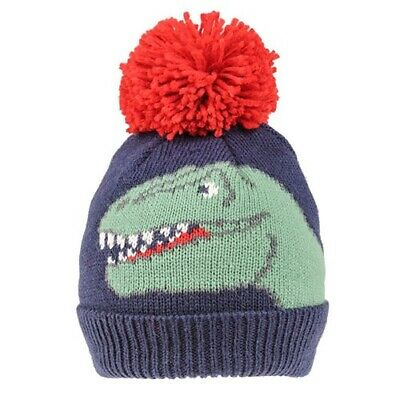 NEW Boys Kids DINOSAUR Winter Warm Large Bobble Hat Beanie Pom Pom Age 2 - 5