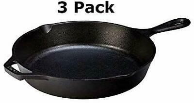 Lodge Pre-Seasoned Cast Iron Skillet 10.25Inch for Stovetop of Oven Use (3 Pack)