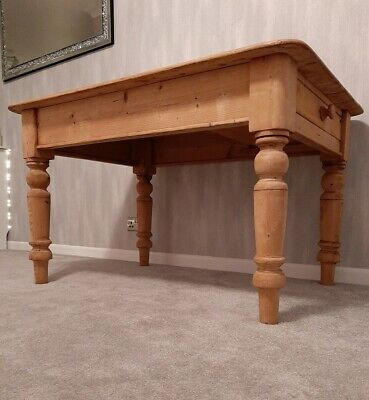 Rustic Solid Pine Farmhouse Kitchen Dining Table