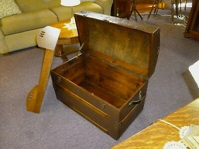 Antique Trunk Dome top Refinished, inside and out. late 1800's chest no key