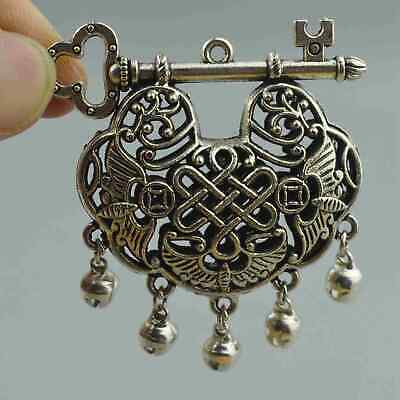 Collectable Handwork Decor Old Miao Silver Carve Totem Auspicious Ruyi Pendant