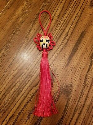 """50% OFF!  RED CHINESE KNOT TASSEL With Hand Painted Mask 8.5"""""""